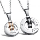 "Set of Round Titanium Stainless Steel ""forever love"" Couple Lover Necklace"