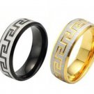 Mens 2-Tones Silver/Gold or Silver/Back Ancient Greek Design Ring Band