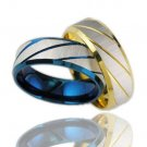 Mens Blue/Gold IP Stainless Steel Stripe Ring Band