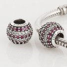 925 Sterling Silver Red Nautical Pave Stripe Charm - fits European Beads Bracelets