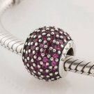 925 Sterling Silver Red Pave Ball Charm, Bead - fits European Beads Bracelets