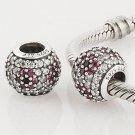 925 Sterling Silver Pink Pave Cherry Blossom Charm - fits Pandora, Troll, Chamilia Bracelets