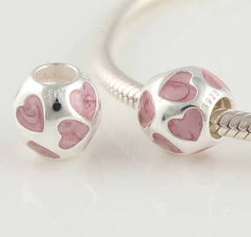 925 Sterling Silver Pink Hearts Charm - fits European Beads Bracelets