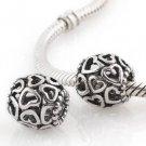 925 Sterling Silver Openwork Heart Charm - fits European Beads Bracelets
