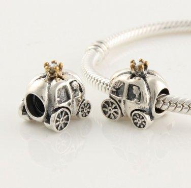 925 Sterling Silver Pumpkin Carriage Charm - fits European Beads Bracelets