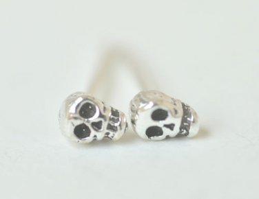Ultra Mini Skull Earrings Stud in Oxidized Sterling Silver