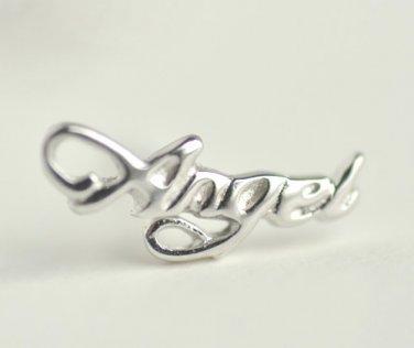 Angel Wording Earrings Stud in Sterling Silver