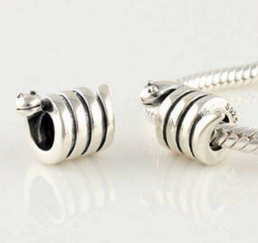 925 Sterling Silver Snake Charm - fits European Beads Bracelets