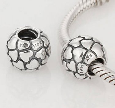 925 Sterling Silver Lotsa Love Hearts Charm - fits European Beads Bracelets