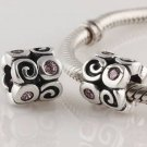 925 Sterling Silver Pink Fantasy Charm - fits European Beads Bracelets