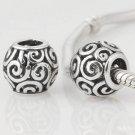 925 Sterling Silver Openwork Swirl Ocean Breeze Charm - fits European Beads Bracelets