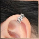 925 Antique Sterling Silver Flower Blossom Cartilage Ear Cuff Wrap Clip On Earring