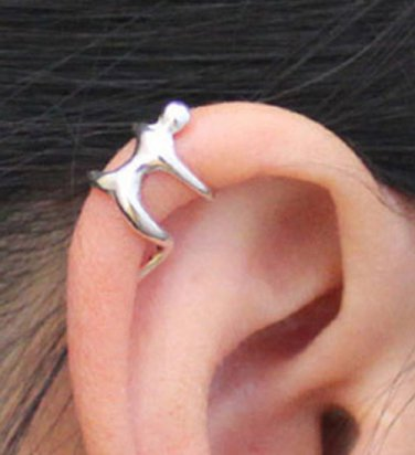 925 Sterling Silver Climbing Man Cartilage Ear Cuff Wrap Around Clip On Earring