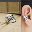 925 Sterling Silver Scary Skull Bone Face Cartilage Ear Cuff Wrap Clip On Earring