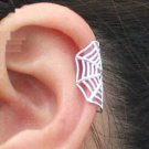 925 Sterling Silver Spider Web Cartilage Ear Cuff Clip On Earring