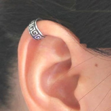 925 Sterling Silver Ancient Tribal Design Cartilage Ear Cuff Wrap Clip On Earring