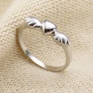 925 Sterling Silver Heart Angel Wing Ring Stacking Band