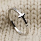 925 Sterling Silver Sideways Cross Ring, Stacking Ring Band