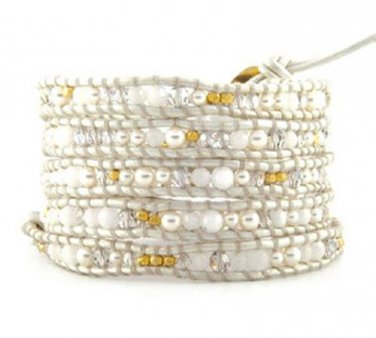 Pearls/White Agate/Clear Crystal/Gold Nuggets - 5 Wrap White Leather Bohemain Boho Bracelet