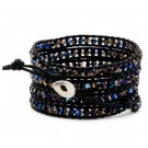 Metallic Blue Crystal - 5 Wrap Black Leather Handmade Beaded Bracelet