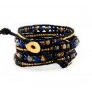 Fancy Jasper Stones/Gold Nuggets - 5 Wrap Black Leather Bohemain Boho Bracelet