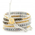 Mother of Pearls/Agate /Gold Nuggets - Bohemain 5 Wrap White Leather Boho Beaded Bracelet