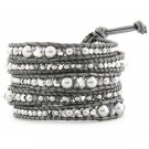 Mother of Pearl/Swarovski Crystal - Chan Luu Inspired 5 Wrap Grey Leather Bohemain Boho Bracelet
