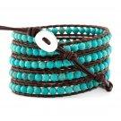 Turquoise Beads - Chan Luu Inspired 5 Wrap Leather Bohemain Boho Beaded Bracelet