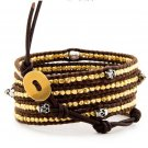 Gold Nuggets/Silver Skulls - 5 Wrap Dark Brown Leather Bohemain Boho Bracelet
