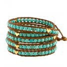 Turquoise Beads/Gold Hearts - 5 Wrap Brown Leather Bohemain Boho Bracelet