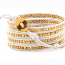 Gold Nuggets - Chan Luu Inspired 5 Wrap White Leather Bohemain Boho Beaded Bracelet