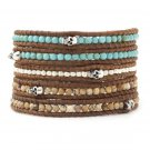 Turquoise Beads/Silver Nuggets/Landscape Stones - 5 Wrap Brown Leather Bohemain Boho Bracelet