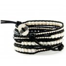 Mother of Pearl/Silver Nuggets/Black Agate - 5 Wrap Black Leather Bohemain Boho Bracelet