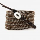 Smoke Grey Faceted Crystal - 5 Wrap Dark Brown Leather Bohemain Boho Bracelet