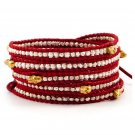 Silver Nuggets/Gold Skull - 5 Wrap Red Leather Bohemain Boho Bracelet