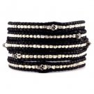 Silver Nuggets/Silver Skull - Chan Luu Inspired 5 Wrap Black Leather Bohemain Boho Bracelet