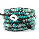 Aqua Terra Jasper Black & Clear Crystal - 5 Wrap Dark Brown Leather Bohemain Boho Bracelet