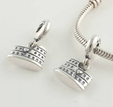 925 Sterling Silver Colosseum Pendant Charm - fits All European DIY Charm Bead Bracelets
