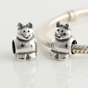 925 Sterling Silver Cute Cat Charm - fits All European DIY Charm Bead Bracelets