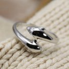 925 Sterling Silver Dolphin Fish Sea Lover Ring Band
