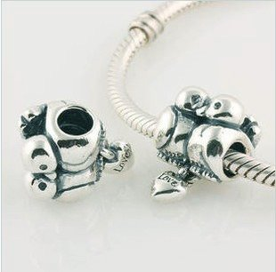 925 Sterling Silver Love Birds Charm - fits European Beads Bracelets