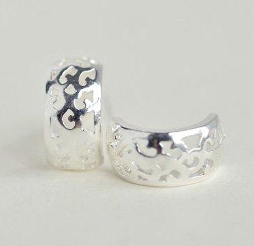 Openwork Lace Curve Earrings Stud in Sterling Silver