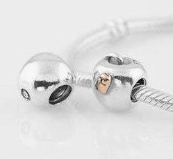 925 Sterling Silver Wormy Apple Charm - fits European Beads Bracelets