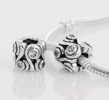 925 Sterling Silver Ocean Wave Charm - fits European Beads Bracelets