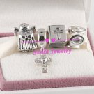 Sterling Silver HOLY NIGHT Christmas Charms Gift Set - fits European Beads Bracelets