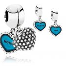 925 Sterling Silver Mother & Son Pendant Charm - fits European Beads Bracelets