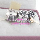 925 Sterling Silver HAPPY BIRTHDAY Charms Gift Set - fits European Beads Bracelets