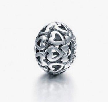 925 Sterling Silver Multi-Hearts Pumpkin Love Spacer - fits European Beads Bracelets