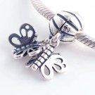 925 Sterling Silver Friends Forever Butterfly Pendant Charm - fits European Beads Bracelets