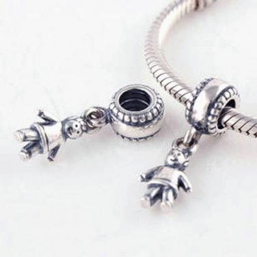 925 Sterling Silver Boy Dangle Pendant - fits European Beads Bracelets